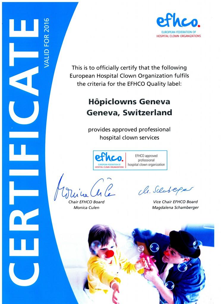 Label 2016 de la Fédération Européenne des Clowns Hospitaliers